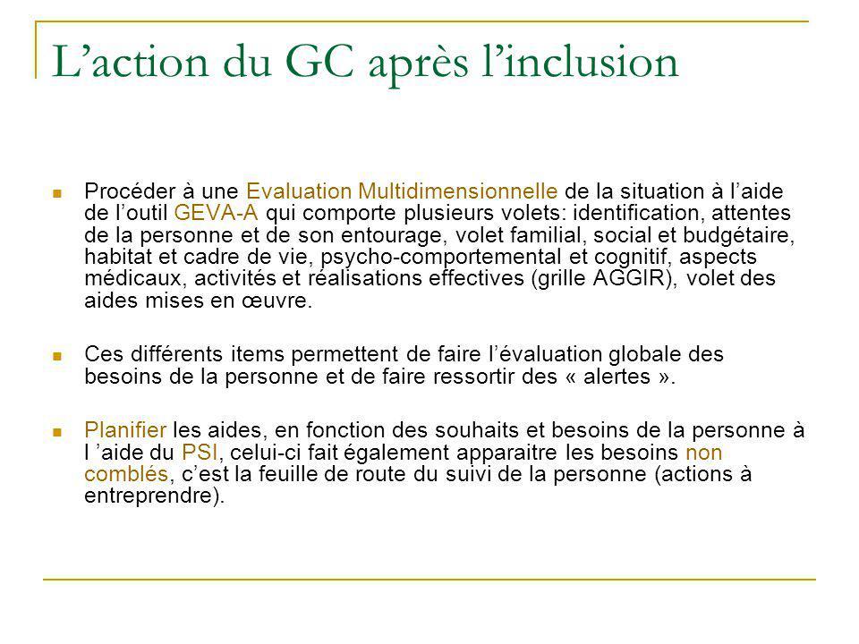L'action du GC après l'inclusion Procéder à une Evaluation Multidimensionnelle de la situation à l'aide de l'outil GEVA-A qui comporte plusieurs volet