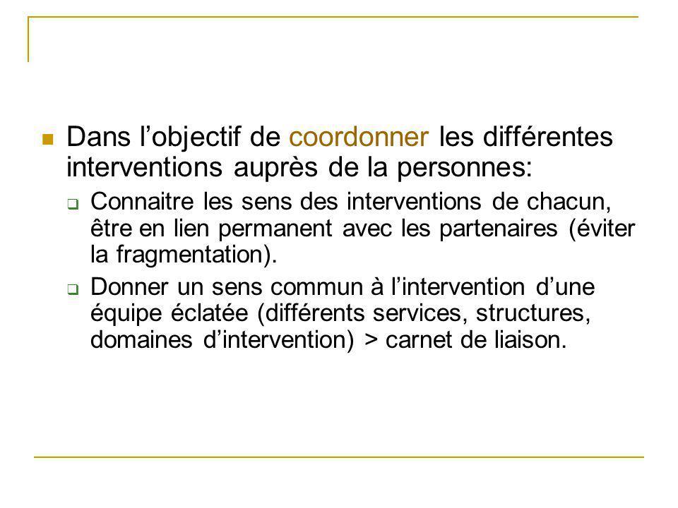Dans l'objectif de coordonner les différentes interventions auprès de la personnes:  Connaitre les sens des interventions de chacun, être en lien per