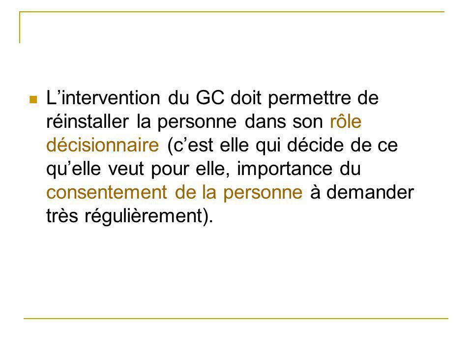 L'intervention du GC doit permettre de réinstaller la personne dans son rôle décisionnaire (c'est elle qui décide de ce qu'elle veut pour elle, import