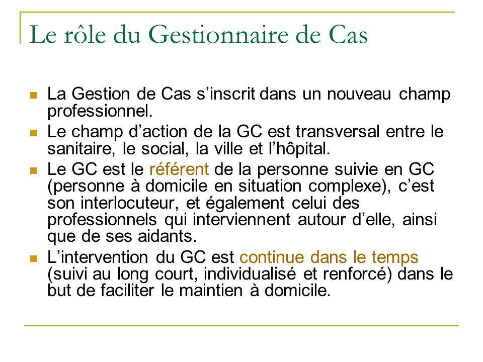 L'orientation vers la Gestion de Cas La situation est orientée vers la GC parce que la personne a des troubles cognitifs, diagnostiqués ou non, potentiellement liés à une MA ou à une maladie apparentée et parce qu'elle présente une fragilité particulière.
