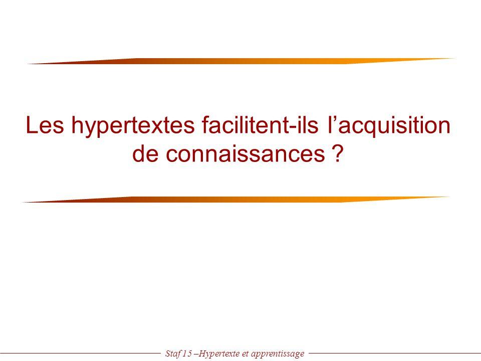 Staf 15 –Hypertexte et apprentissage Les hypertextes facilitent-ils l'acquisition de connaissances ?