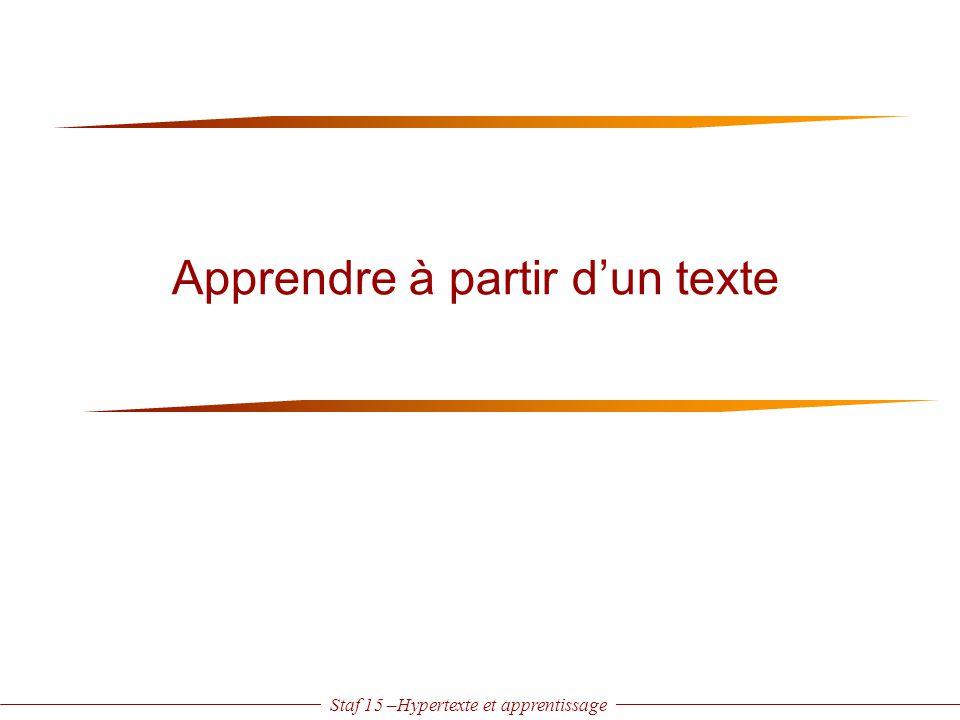 Staf 15 –Hypertexte et apprentissage Apprendre à partir d'un texte