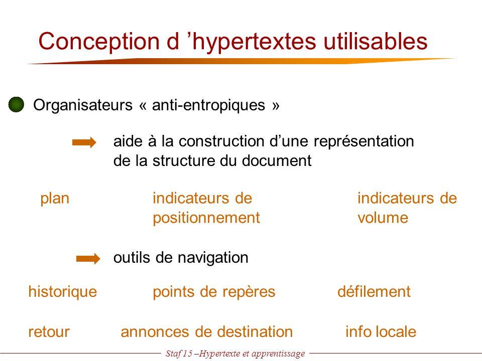 Staf 15 –Hypertexte et apprentissage Conception d 'hypertextes utilisables Organisateurs « anti-entropiques » planindicateurs de positionnement indica