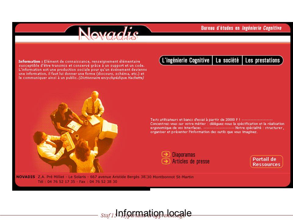Staf 15 –Hypertexte et apprentissage Information locale