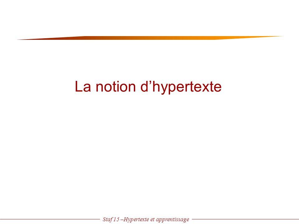 Staf 15 –Hypertexte et apprentissage = mode de gestion de l 'information où cette dernière est représentée par des unités d'informations appelées nœuds, reliés par des liens, activables par action de la souris sur des ancres.
