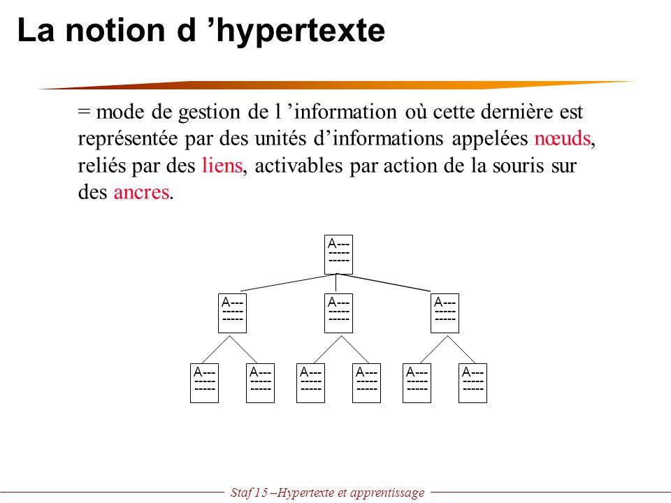 Staf 15 –Hypertexte et apprentissage Deux problèmes la désorientation gestion de la tâche où suis-je et où vais-je .