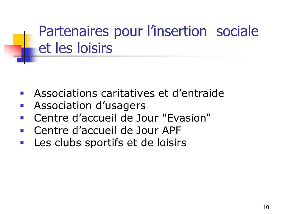 10 Partenaires pour l'insertion sociale et les loisirs  Associations caritatives et d'entraide  Association d'usagers  Centre d'accueil de Jour