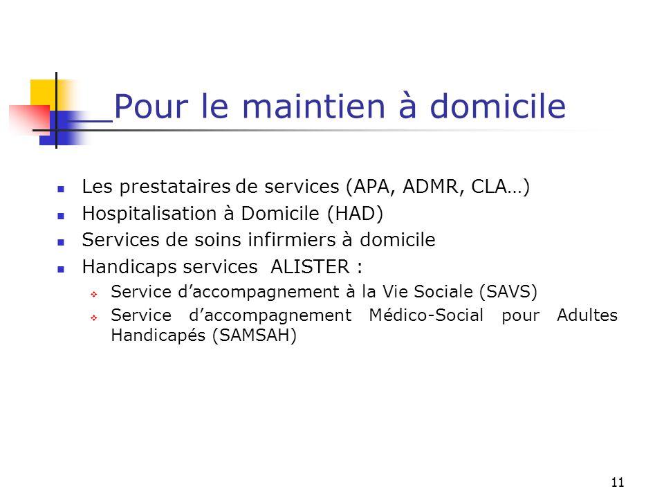 11 Pour le maintien à domicile Les prestataires de services (APA, ADMR, CLA…) Hospitalisation à Domicile (HAD) Services de soins infirmiers à domicile
