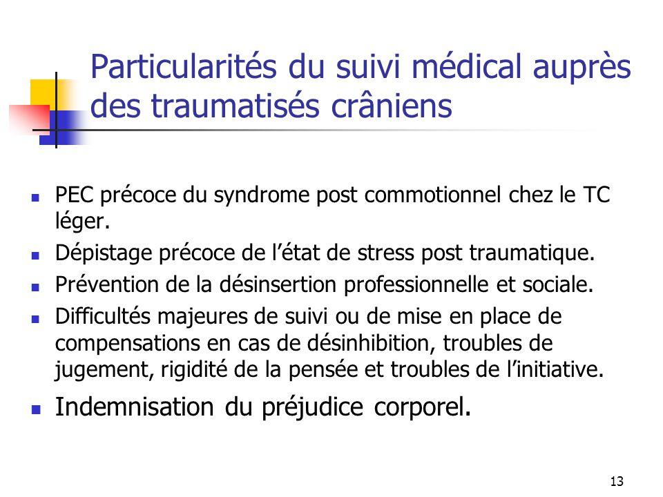 13 Particularités du suivi médical auprès des traumatisés crâniens PEC précoce du syndrome post commotionnel chez le TC léger. Dépistage précoce de l'