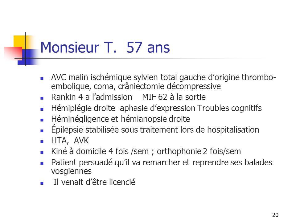 20 Monsieur T. 57 ans AVC malin ischémique sylvien total gauche d'origine thrombo- embolique, coma, crâniectomie décompressive Rankin 4 a l'admission