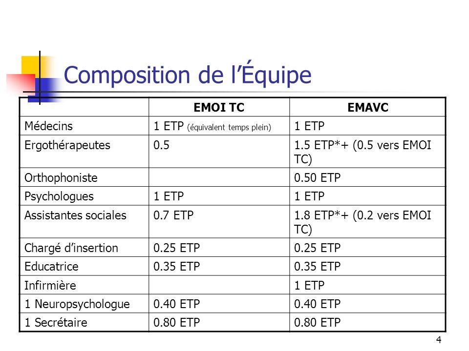 4 Composition de l'Équipe EMOI TCEMAVC Médecins1 ETP (équivalent temps plein) 1 ETP Ergothérapeutes0.51.5 ETP*+ (0.5 vers EMOI TC) Orthophoniste0.50 E
