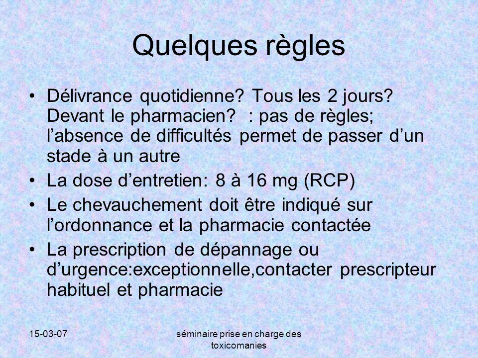 15-03-07séminaire prise en charge des toxicomanies Quelques règles Délivrance quotidienne? Tous les 2 jours? Devant le pharmacien? : pas de règles; l'