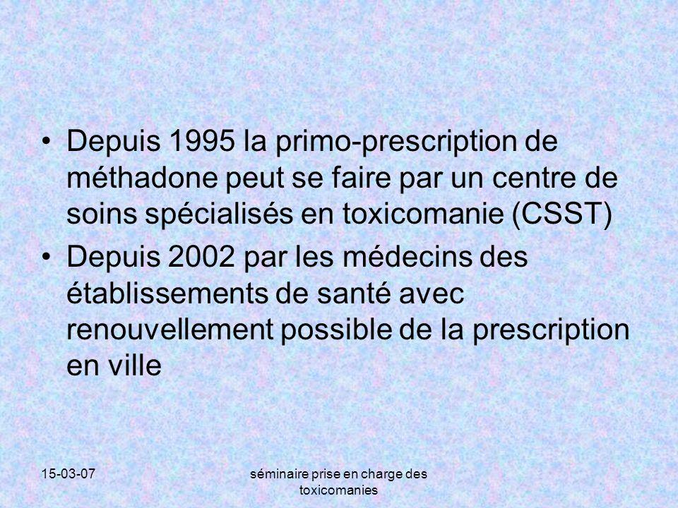 15-03-07séminaire prise en charge des toxicomanies Depuis 1995 la primo-prescription de méthadone peut se faire par un centre de soins spécialisés en