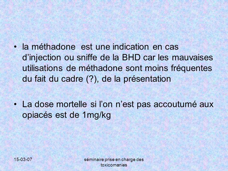 15-03-07séminaire prise en charge des toxicomanies la méthadone est une indication en cas d'injection ou sniffe de la BHD car les mauvaises utilisatio