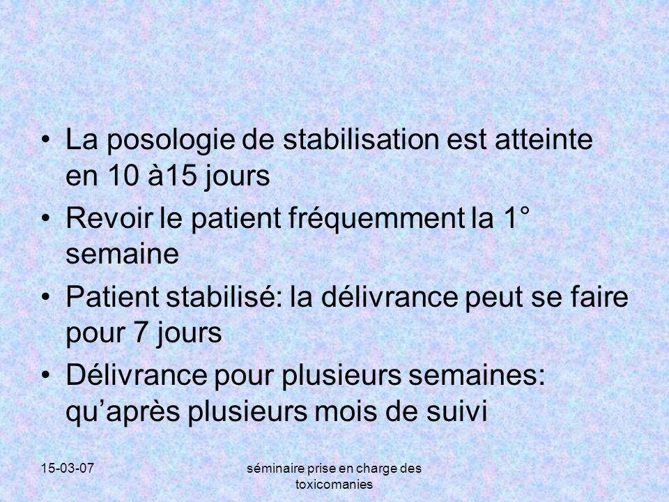 15-03-07séminaire prise en charge des toxicomanies La posologie de stabilisation est atteinte en 10 à15 jours Revoir le patient fréquemment la 1° sema