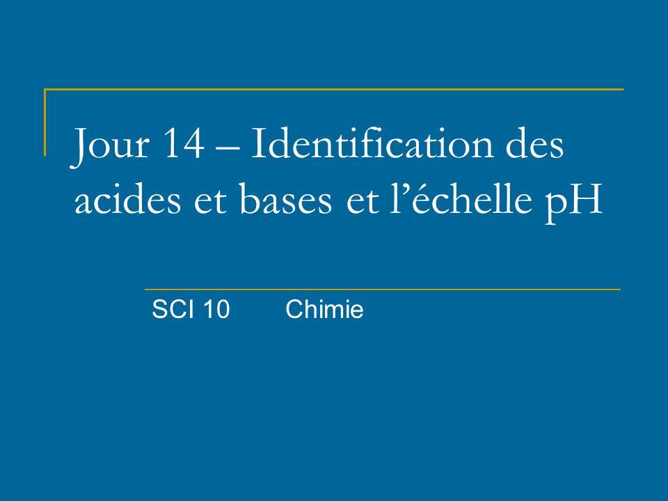 Jour 14 – Identification des acides et bases et l'échelle pH SCI 10Chimie