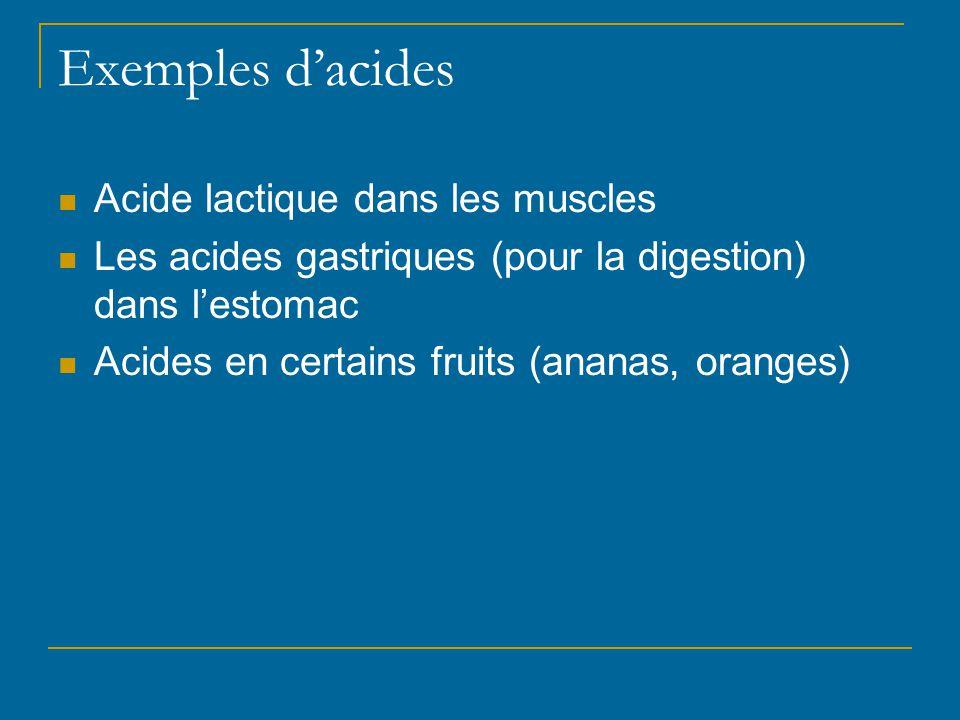 Exemples d'acides Acide lactique dans les muscles Les acides gastriques (pour la digestion) dans l'estomac Acides en certains fruits (ananas, oranges)