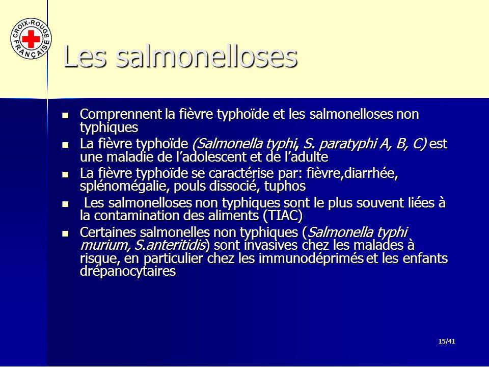 15/41 Les salmonelloses Comprennent la fièvre typhoïde et les salmonelloses non typhiques Comprennent la fièvre typhoïde et les salmonelloses non typh