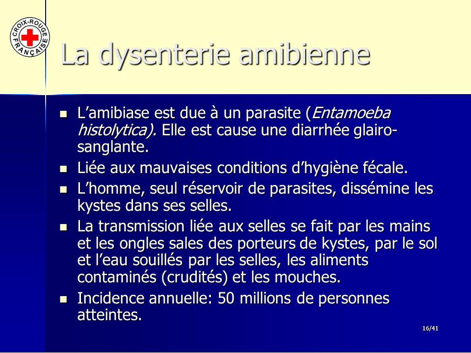 16/41 La dysenterie amibienne L'amibiase est due à un parasite (Entamoeba histolytica). Elle est cause une diarrhée glairo- sanglante. L'amibiase est