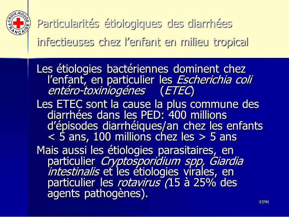 17/41 Particularités étiologiques des diarrhées infectieuses chez l'enfant en milieu tropical Les étiologies bactériennes dominent chez l'enfant, en p