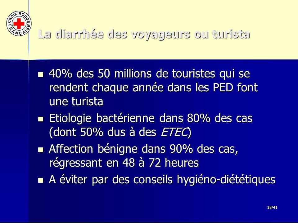 18/41 La diarrhée des voyageurs ou turista 40% des 50 millions de touristes qui se rendent chaque année dans les PED font une turista 40% des 50 milli