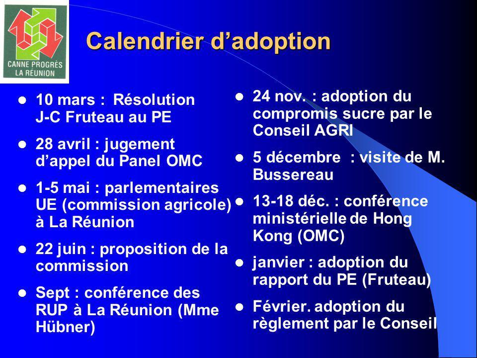 Calendrier d'adoption 10 mars :Résolution J-C Fruteau au PE 28 avril : jugement d'appel du Panel OMC 1-5 mai : parlementaires UE (commission agricole) à La Réunion 22 juin : proposition de la commission Sept : conférence des RUP à La Réunion (Mme Hübner) 24 nov.