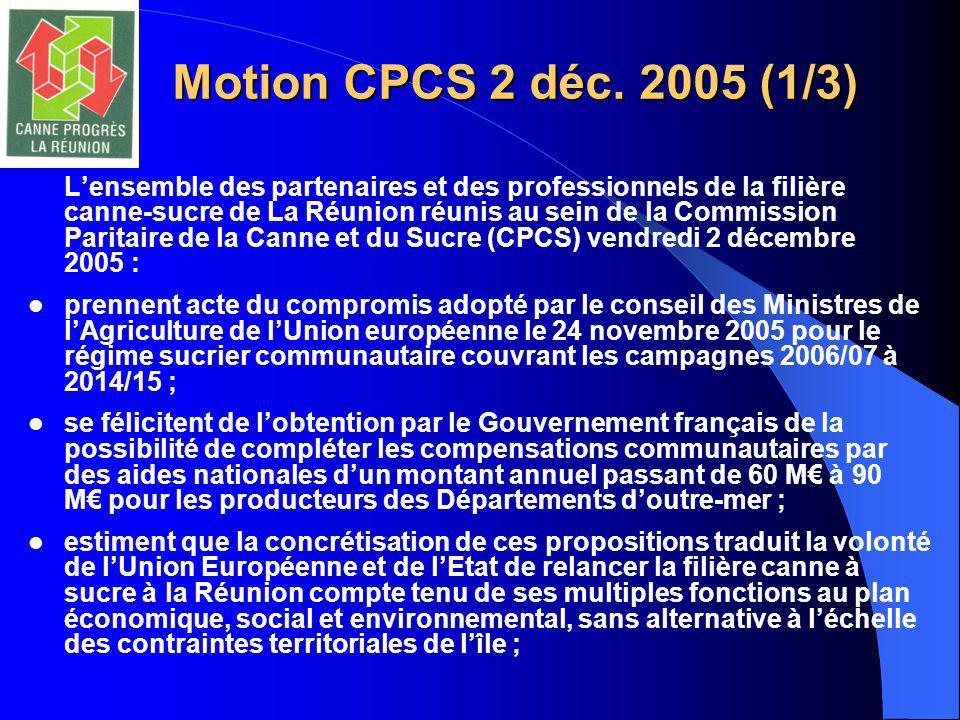 Motion CPCS 2 déc. 2005 (1/3) L'ensemble des partenaires et des professionnels de la filière canne-sucre de La Réunion réunis au sein de la Commission