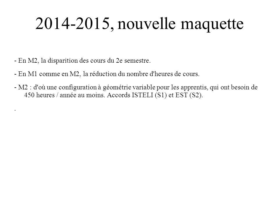 2014-2015, nouvelle maquette - En M2, la disparition des cours du 2e semestre. - En M1 comme en M2, la réduction du nombre d'heures de cours. - M2 : d