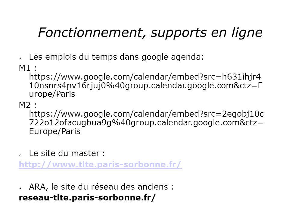 Fonctionnement, supports en ligne  Les emplois du temps dans google agenda: M1 : https://www.google.com/calendar/embed?src=h631ihjr4 10nsnrs4pv16rjuj