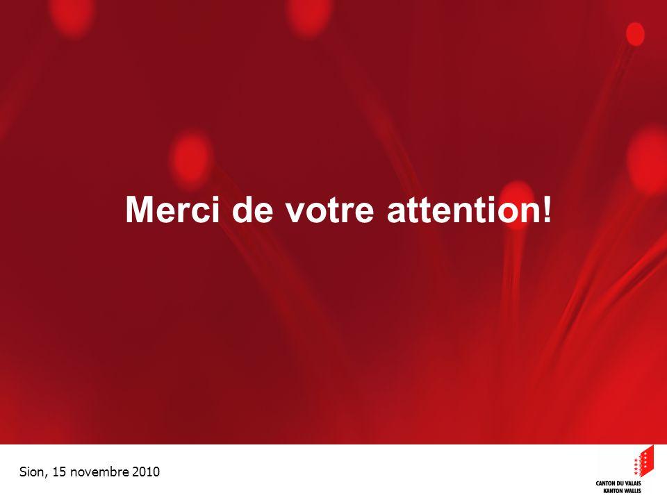 Optimisation de la Promotion économiqueOptimisation de la promotion économique Sion, 15 novembre 2010 Merci de votre attention!
