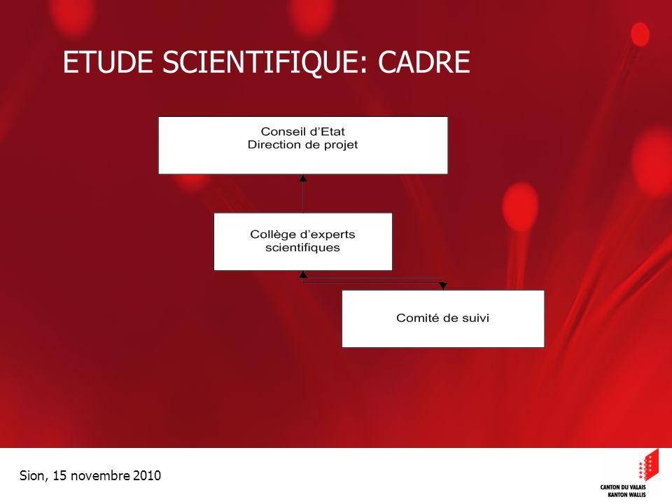 Optimisation de la Promotion économiqueOptimisation de la promotion économique Sion, 15 novembre 2010 ETUDE SCIENTIFIQUE: CADRE