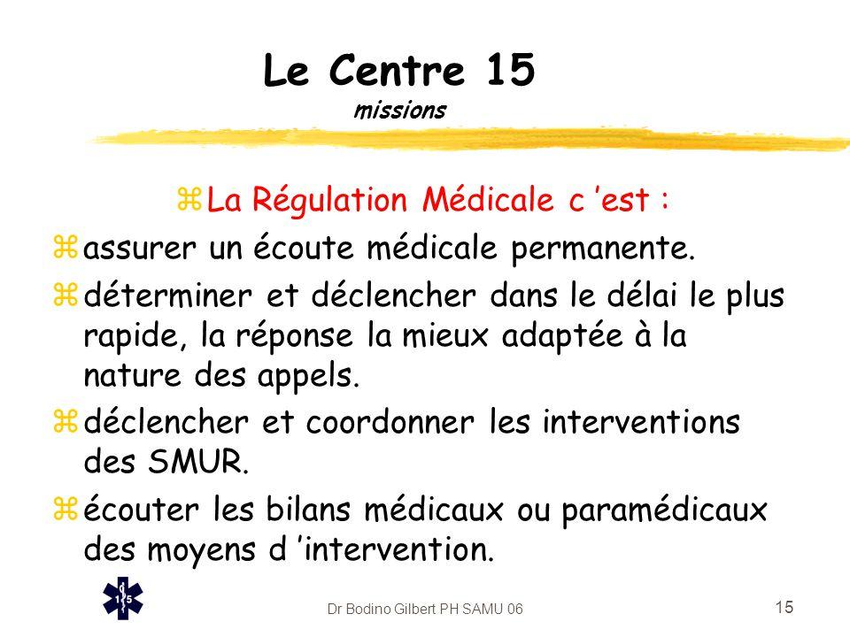 Dr Bodino Gilbert PH SAMU 06 15 Le Centre 15 missions zLa Régulation Médicale c 'est : zassurer un écoute médicale permanente. zdéterminer et déclench