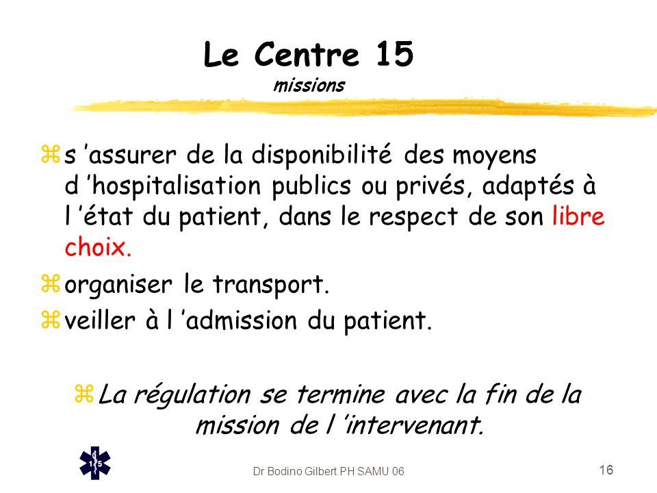 Dr Bodino Gilbert PH SAMU 06 16 Le Centre 15 missions zs 'assurer de la disponibilité des moyens d 'hospitalisation publics ou privés, adaptés à l 'ét