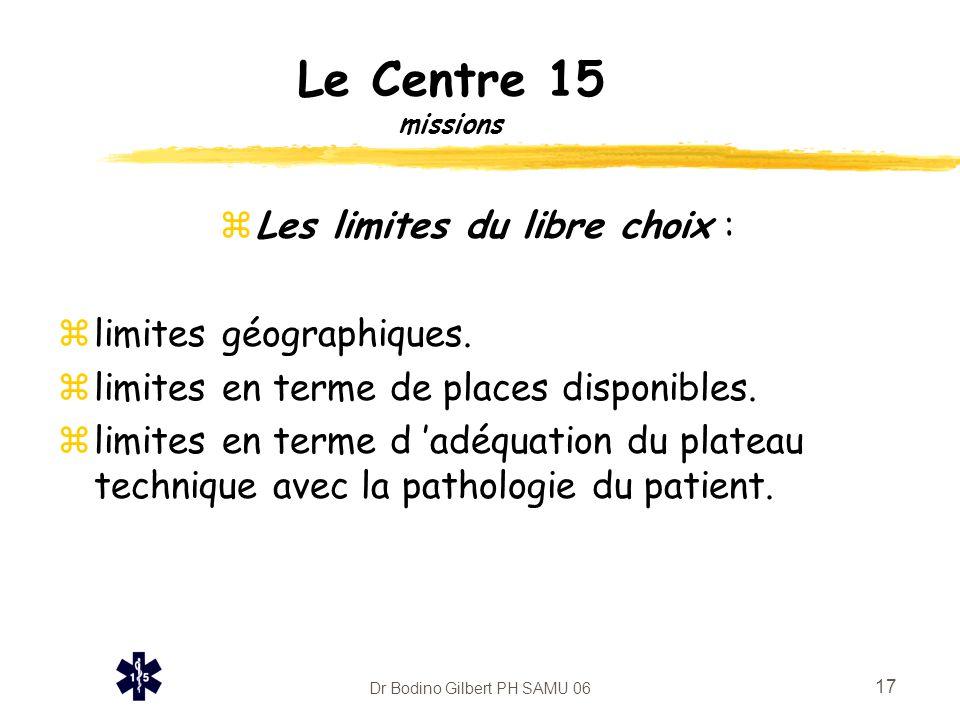 Dr Bodino Gilbert PH SAMU 06 17 Le Centre 15 missions zLes limites du libre choix : zlimites géographiques. zlimites en terme de places disponibles. z