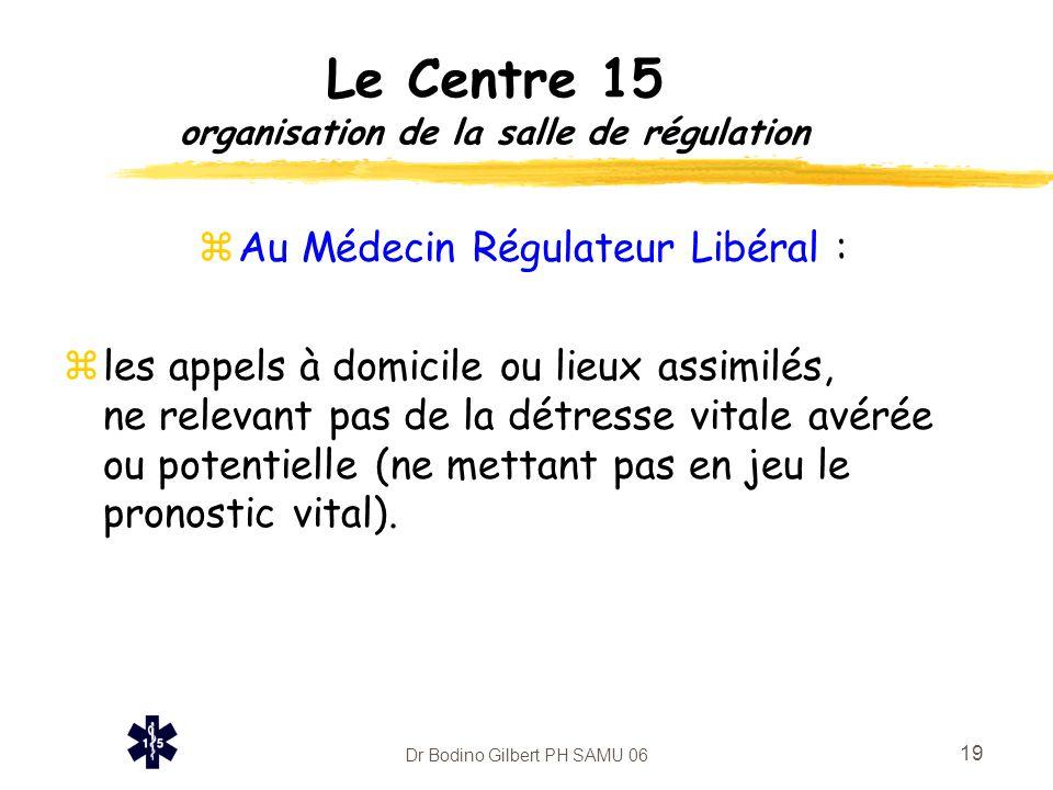 Dr Bodino Gilbert PH SAMU 06 20 Le Centre 15 organisation de la salle de régulation zAu Médecin Régulateur Hospitalier : zles appels provenant de la voie publique, des établissements recevant du public...