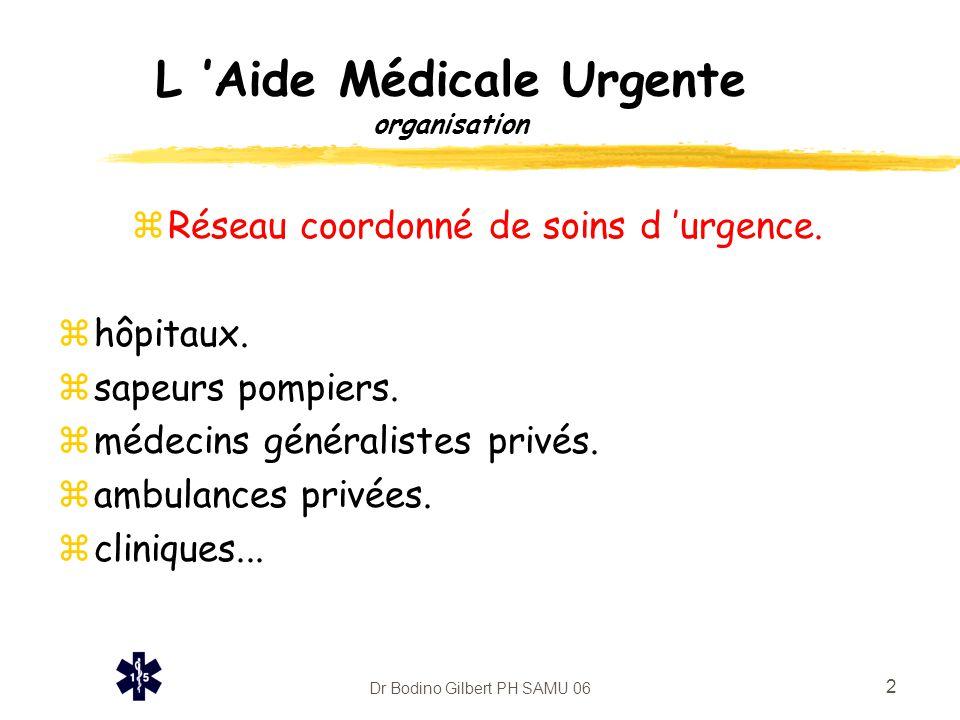 Dr Bodino Gilbert PH SAMU 06 2 L 'Aide Médicale Urgente organisation zRéseau coordonné de soins d 'urgence. zhôpitaux. zsapeurs pompiers. zmédecins gé