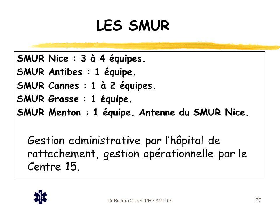Dr Bodino Gilbert PH SAMU 06 27 LES SMUR SMUR Nice : 3 à 4 équipes. SMUR Antibes : 1 équipe. SMUR Cannes : 1 à 2 équipes. SMUR Grasse : 1 équipe. SMUR