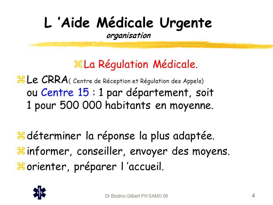 Dr Bodino Gilbert PH SAMU 06 4 L 'Aide Médicale Urgente organisation zLa Régulation Médicale. zLe CRRA ( Centre de Réception et Régulation des Appels)