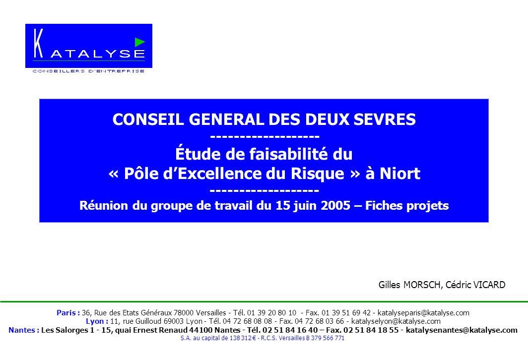 Conseil Général des Deux Sèvres / KATALYSE – Etude de faisabilité Pôle Risque Réunion du groupe de travail du 15 juin 2005 - page 1 - Paris : 36, Rue des Etats Généraux 78000 Versailles - Tél.