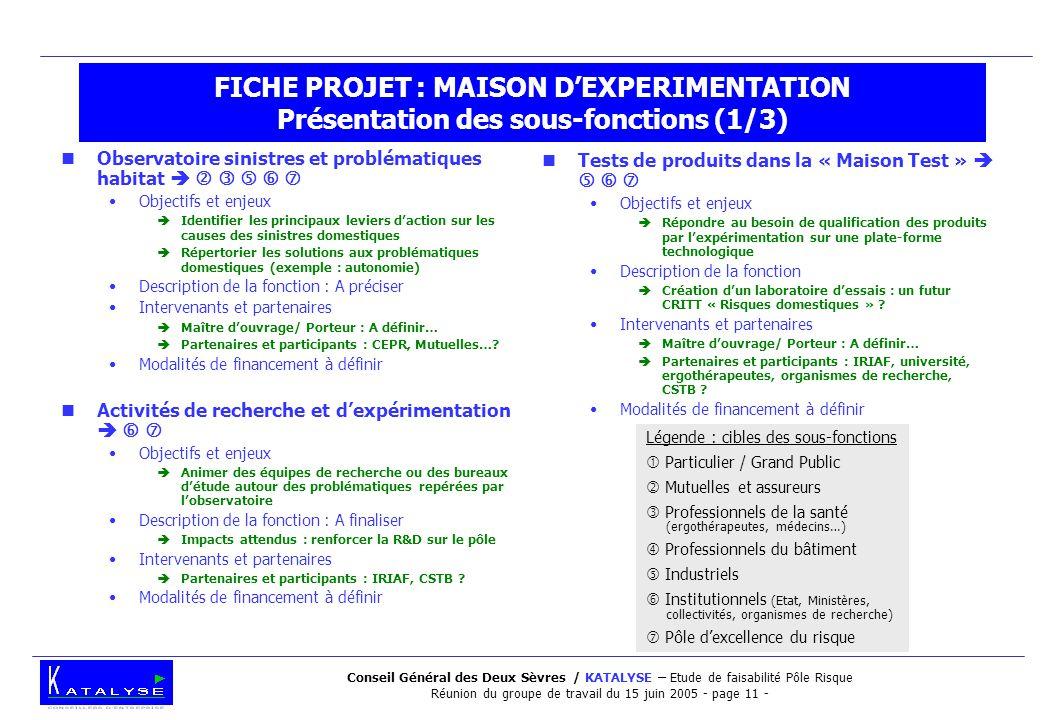 Conseil Général des Deux Sèvres / KATALYSE – Etude de faisabilité Pôle Risque Réunion du groupe de travail du 15 juin 2005 - page 11 - FICHE PROJET :