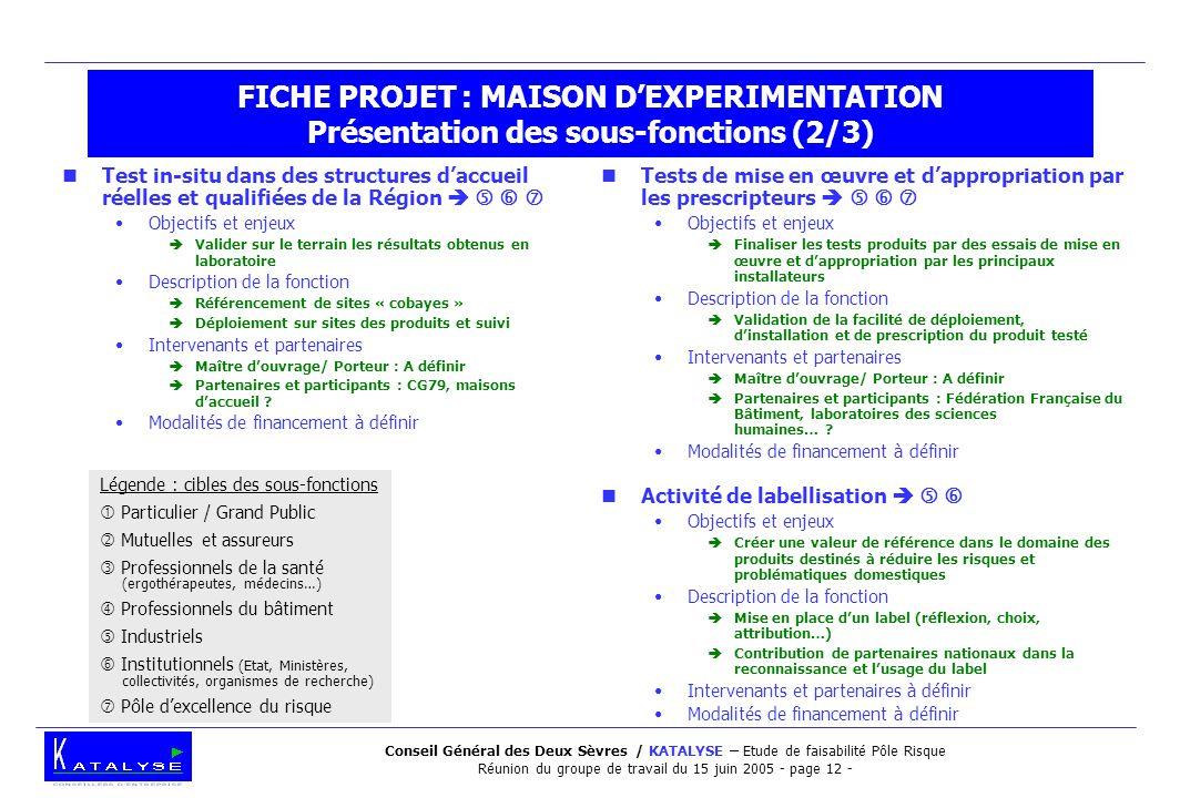 Conseil Général des Deux Sèvres / KATALYSE – Etude de faisabilité Pôle Risque Réunion du groupe de travail du 15 juin 2005 - page 12 - FICHE PROJET :