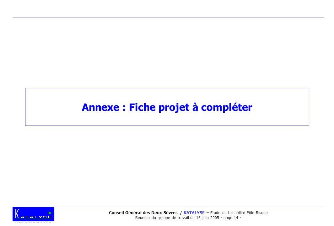 Conseil Général des Deux Sèvres / KATALYSE – Etude de faisabilité Pôle Risque Réunion du groupe de travail du 15 juin 2005 - page 14 - Annexe : Fiche projet à compléter