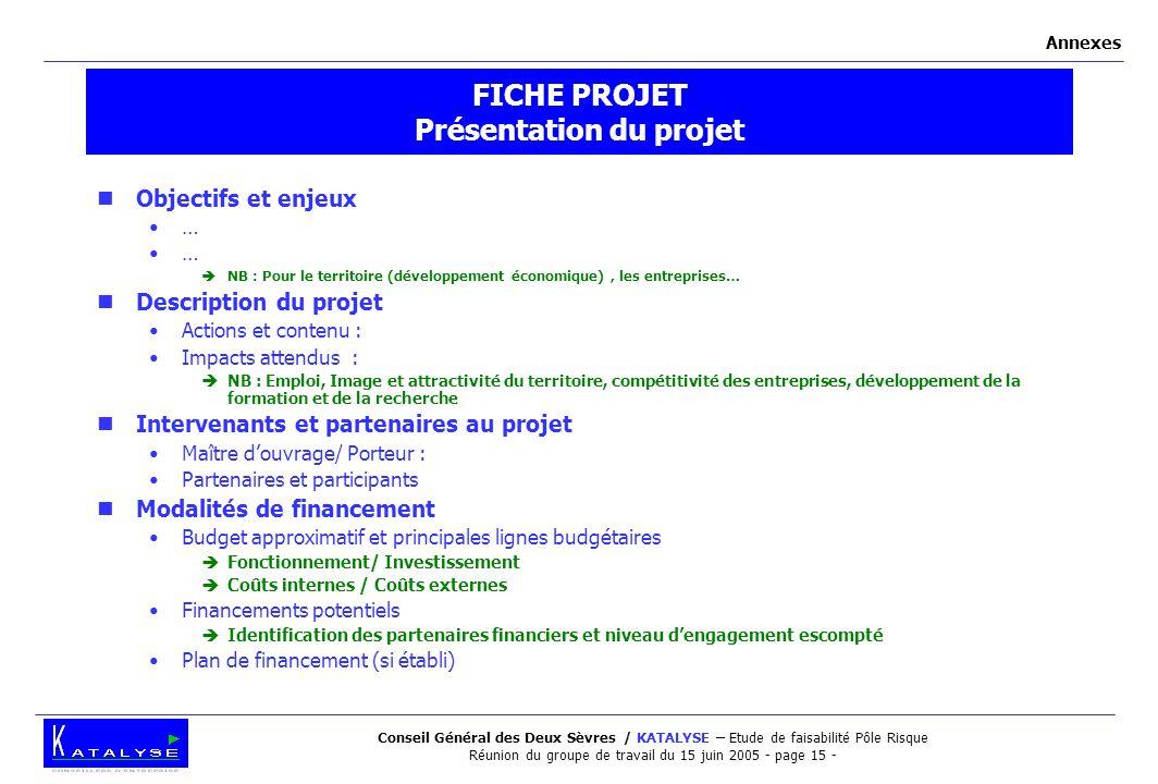 Conseil Général des Deux Sèvres / KATALYSE – Etude de faisabilité Pôle Risque Réunion du groupe de travail du 15 juin 2005 - page 15 - FICHE PROJET Pr