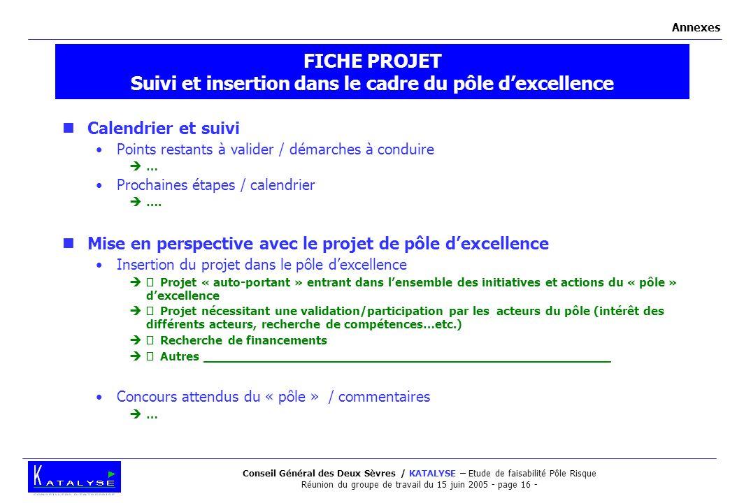 Conseil Général des Deux Sèvres / KATALYSE – Etude de faisabilité Pôle Risque Réunion du groupe de travail du 15 juin 2005 - page 16 - FICHE PROJET Su