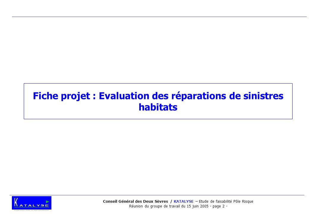 Conseil Général des Deux Sèvres / KATALYSE – Etude de faisabilité Pôle Risque Réunion du groupe de travail du 15 juin 2005 - page 2 - Fiche projet : Evaluation des réparations de sinistres habitats