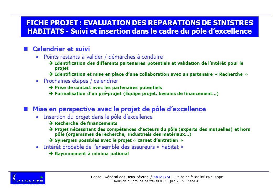Conseil Général des Deux Sèvres / KATALYSE – Etude de faisabilité Pôle Risque Réunion du groupe de travail du 15 juin 2005 - page 4 - FICHE PROJET : E