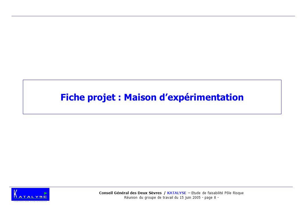 Conseil Général des Deux Sèvres / KATALYSE – Etude de faisabilité Pôle Risque Réunion du groupe de travail du 15 juin 2005 - page 8 - Fiche projet : M