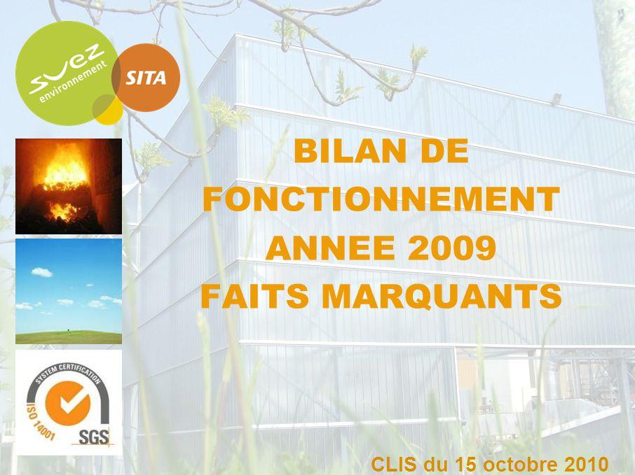 BILAN DE FONCTIONNEMENT ANNEE 2009 FAITS MARQUANTS CLIS du 15 octobre 2010