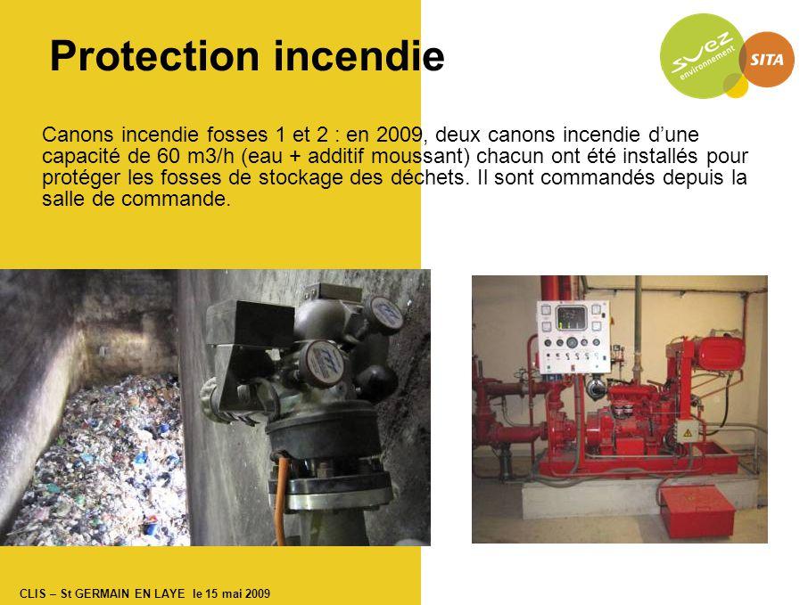 CLIS – St GERMAIN EN LAYE le 15 mai 2009 Protection incendie Canons incendie fosses 1 et 2 : en 2009, deux canons incendie d'une capacité de 60 m3/h (eau + additif moussant) chacun ont été installés pour protéger les fosses de stockage des déchets.