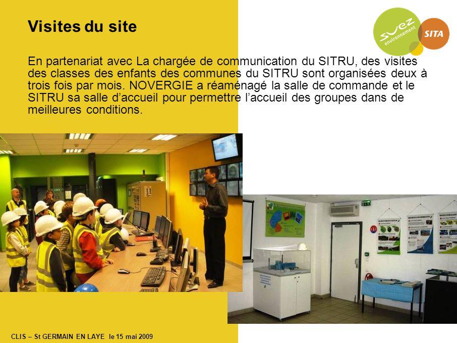 CLIS – St GERMAIN EN LAYE le 15 mai 2009 Visites du site En partenariat avec La chargée de communication du SITRU, des visites des classes des enfants des communes du SITRU sont organisées deux à trois fois par mois.